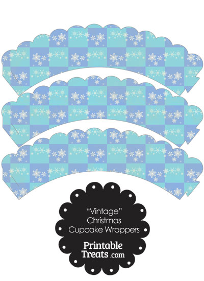 Vintage Snowflake Checkered Scalloped Cupcake Wrappers from PrintableTreats.com