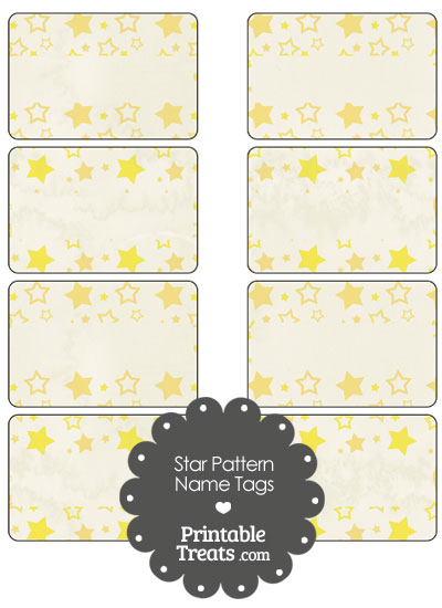 Vintage Yellow Star Pattern Name Tags from PrintableTreats.com
