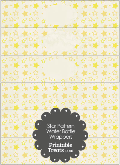 Vintage Yellow Star Pattern Water Bottle Wrappers from PrintableTreats.com