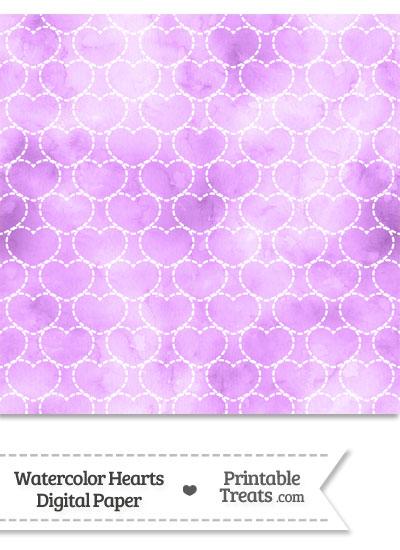 Violet Watercolor Hearts Digital Scrapbook Paper from PrintableTreats.com