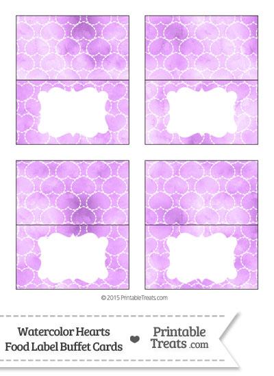 Violet Watercolor Hearts Food Labels from PrintableTreats.com