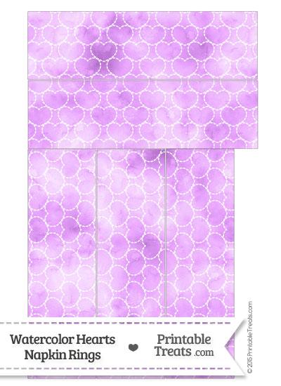Violet Watercolor Hearts Napkin Rings from PrintableTreats.com