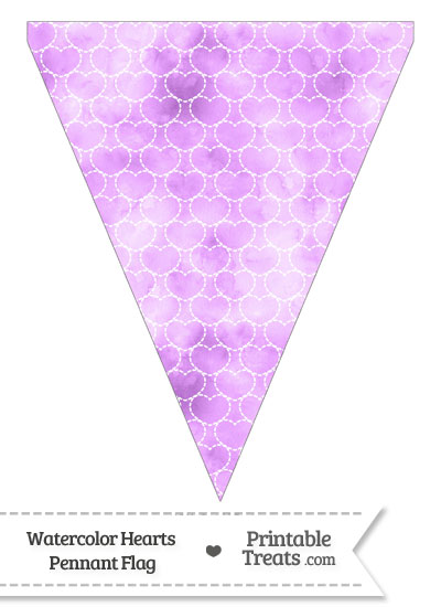 Violet Watercolor Hearts Pennant Banner Flag from PrintableTreats.com