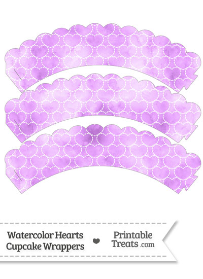 Violet Watercolor Hearts Scalloped Cupcake Wrappers from PrintableTreats.com