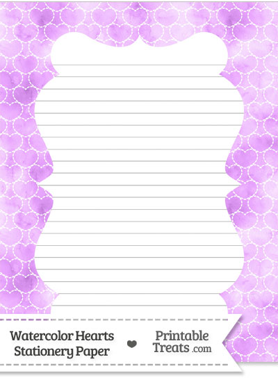 Violet Watercolor Hearts Stationery Paper from PrintableTreats.com