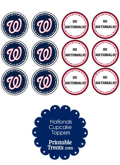 Washington Nationals Cupcake Toppers from PrintableTreats.com