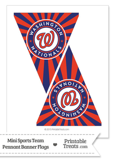 Washington Nationals Mini Pennant Banner Flags from PrintableTreats.com