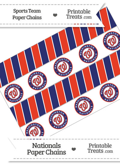 Washington Nationals Paper Chains from PrintableTreats.com