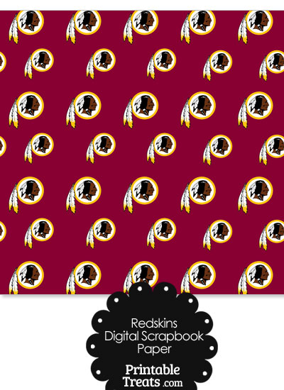 Washington Redskins Logo Digital Paper from PrintableTreats.com