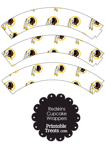 Washington Redskins Logo with White Background Cupcake Wrappers from PrintableTreats.com