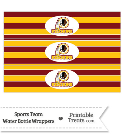 Washington Redskins Water Bottle Wrappers from PrintableTreats.com