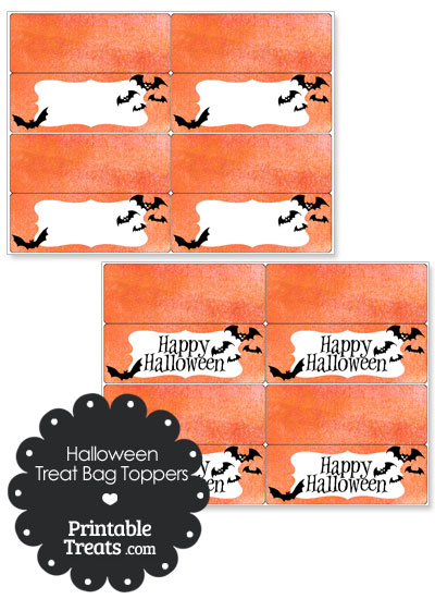 Watercolor Background Bat Treat Bag Toppers from PrintableTreats.com