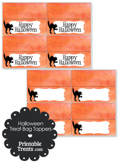 Watercolor Background Black Cat Treat Bag Toppers from PrintableTreats.com