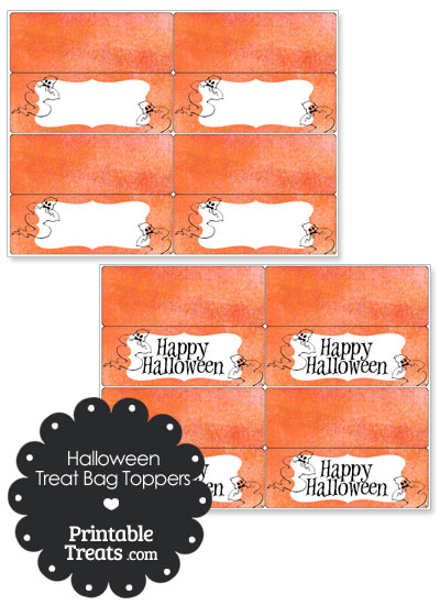Watercolor Background Ghost Treat Bag Toppers from PrintableTreats.com