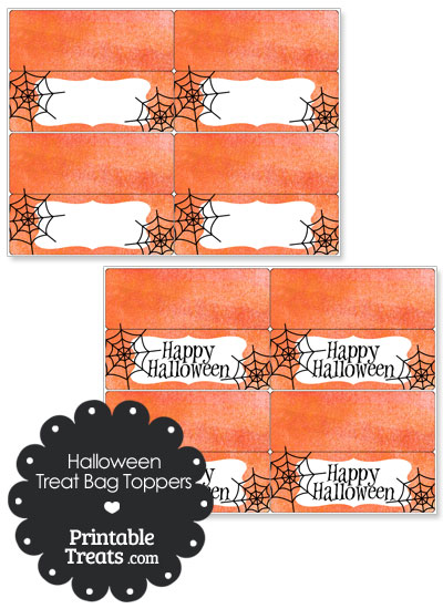 Watercolor Background Spider Treat Bag Toppers from PrintableTreats.com