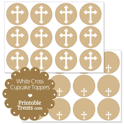 white cross cupcake toppers
