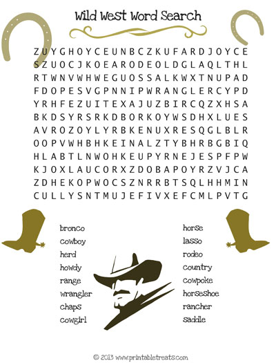 wild west word search printable