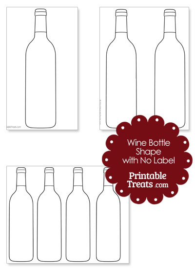 Printable Wine Bottle Shape with No Label from PrintableTreats.com
