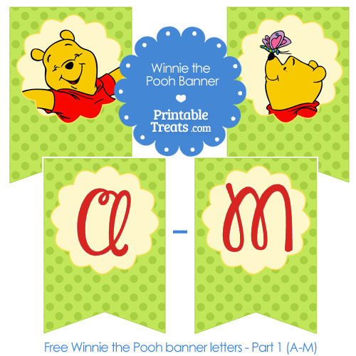 printable Winnie the Pooh birthday banner letters A-M