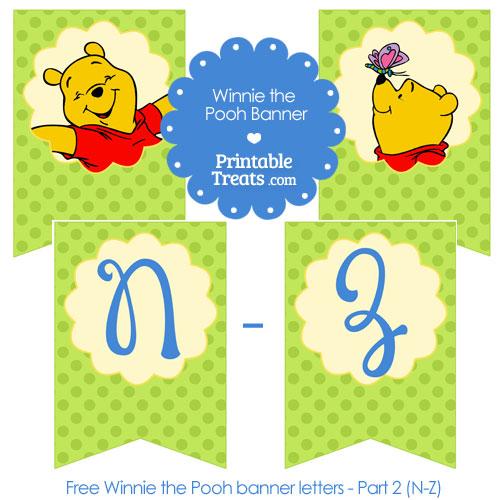 printable Winnie the Pooh bunting banner letters N-Z