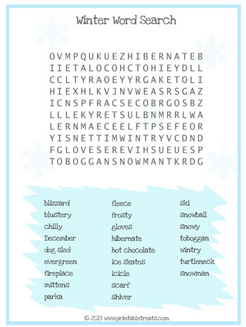 winter word search for kids printable