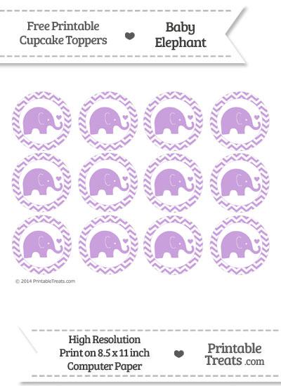 Wisteria Baby Elephant Chevron Cupcake Toppers from PrintableTreats.com