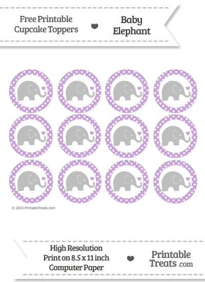 Wisteria Polka Dot Baby Elephant Cupcake Toppers from PrintableTreats.com
