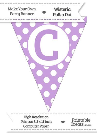 Wisteria Polka Dot Pennant Flag Capital Letter C from PrintableTreats.com