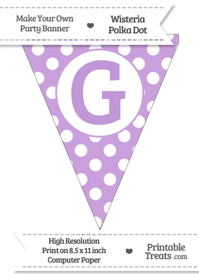 Wisteria Polka Dot Pennant Flag Capital Letter G from PrintableTreats.com