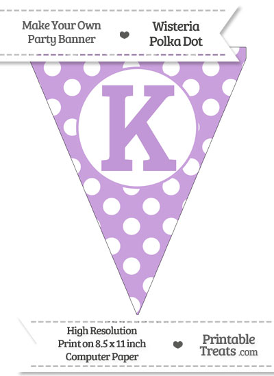 Wisteria Polka Dot Pennant Flag Capital Letter K from PrintableTreats.com
