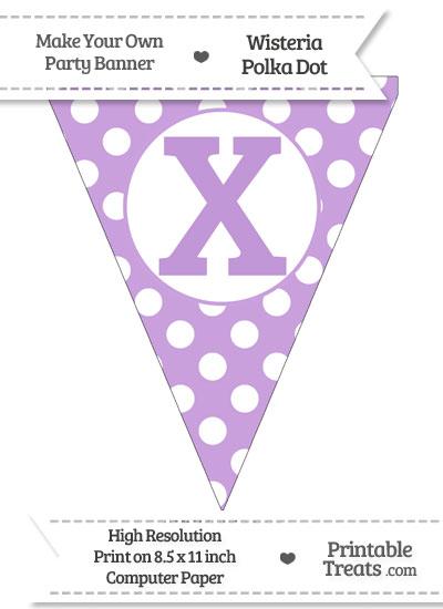 Wisteria Polka Dot Pennant Flag Capital Letter X from PrintableTreats.com