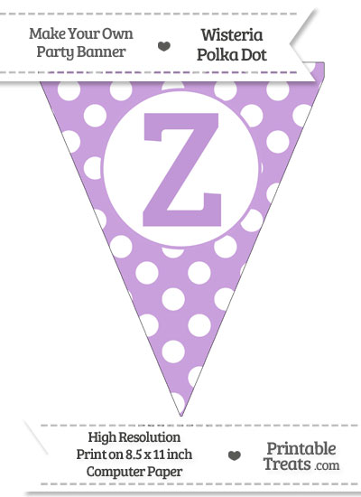 Wisteria Polka Dot Pennant Flag Capital Letter Z from PrintableTreats.com