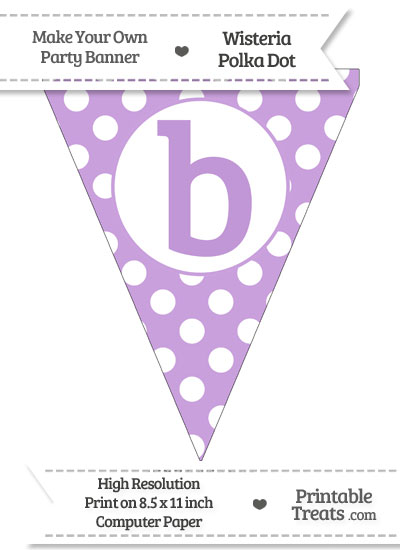 Wisteria Polka Dot Pennant Flag Lowercase Letter B from PrintableTreats.com