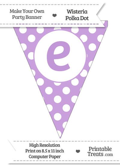 Wisteria Polka Dot Pennant Flag Lowercase Letter E from PrintableTreats.com