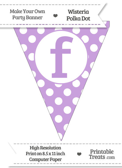 Wisteria Polka Dot Pennant Flag Lowercase Letter F from PrintableTreats.com