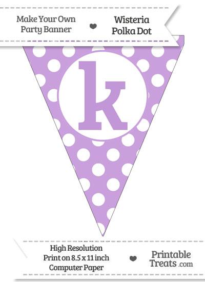 Wisteria Polka Dot Pennant Flag Lowercase Letter K from PrintableTreats.com
