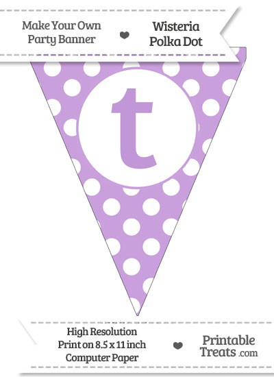 Wisteria Polka Dot Pennant Flag Lowercase Letter T from PrintableTreats.com