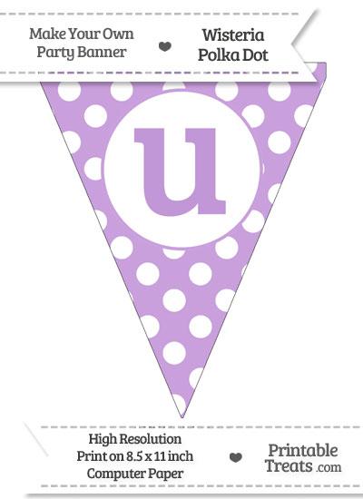Wisteria Polka Dot Pennant Flag Lowercase Letter U from PrintableTreats.com