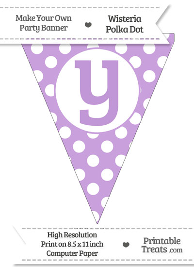 Wisteria Polka Dot Pennant Flag Lowercase Letter Y from PrintableTreats.com
