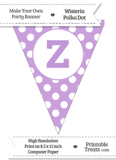 Wisteria Polka Dot Pennant Flag Lowercase Letter Z from PrintableTreats.com