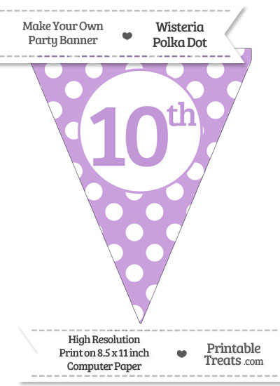 Wisteria Polka Dot Pennant Flag Ordinal Number 10th from PrintableTreats.com