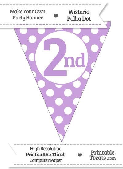 Wisteria Polka Dot Pennant Flag Ordinal Number 2nd from PrintableTreats.com