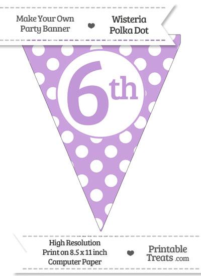 Wisteria Polka Dot Pennant Flag Ordinal Number 6th from PrintableTreats.com