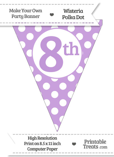 Wisteria Polka Dot Pennant Flag Ordinal Number 8th from PrintableTreats.com