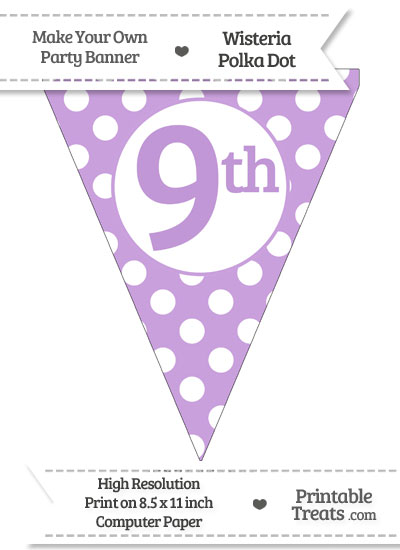 Wisteria Polka Dot Pennant Flag Ordinal Number 9th from PrintableTreats.com