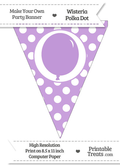 Wisteria Polka Dot Pennant Flag with Birthday Balloon from PrintableTreats.com