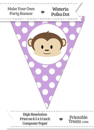 Wisteria Polka Dot Pennant Flag with Boy Monkey from PrintableTreats.com