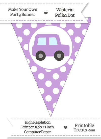 Wisteria Polka Dot Pennant Flag with Car Facing Right from PrintableTreats.com