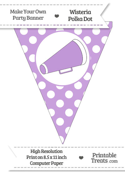 Wisteria Polka Dot Pennant Flag with Cheer Megaphone Facing Right from PrintableTreats.com