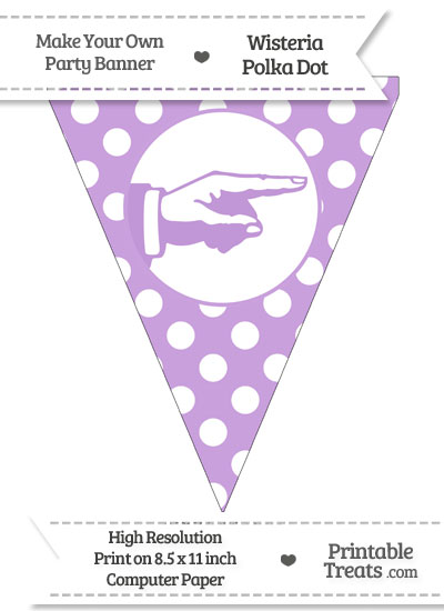 Wisteria Polka Dot Pennant Flag with Hand Pointing Right from PrintableTreats.com